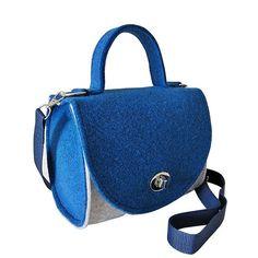 Handtasche Filz Henkeltasche blau / weiß von MargritliDesign