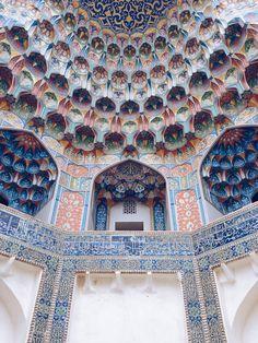 muqarnas at the entrance of the abdul aziz khan madrasah, bukhara, uzbekistan | islamic art + architecture