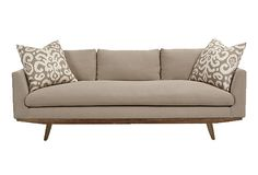 """Arden Sofa - rame, alder; upholstery, Belgian linen; fill, 10% white goose down/90% feathers; 94""""W x 39""""D x 29""""H; seat height, 18""""  2499 - orig. 6870"""