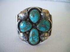 Vintage NAVAJO Sterling Silver & Blue Gem TURQUOISE Cuff BRACELET Cross.  TurquoiseKachina, $530.10