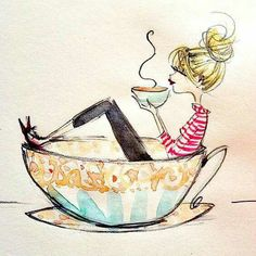 I love Anne Higgins illustrations- they are all so beautiful. This one just covers my love for coffee.