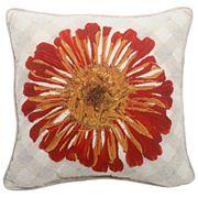 Red Zinnia Floral Decorative Pillow