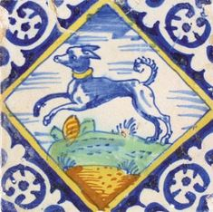 Delft - dog in diamond polychrom tile 17th century, Dutch