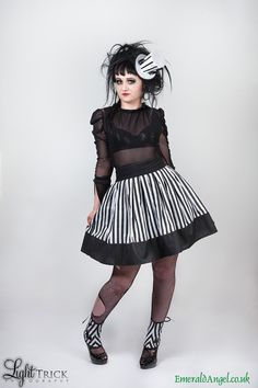 Hey, I found this really awesome Etsy listing at https://www.etsy.com/listing/202876363/stripes-skater-skirt-gothic-beetlejuice