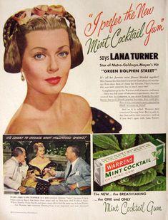 1947 Warner's Mint Cocktail Chewing Gum Ad ~ Lana Turner
