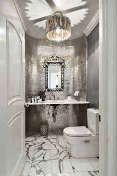 Bathroom Design - love for a nightclub, hotel, or a glitzy home