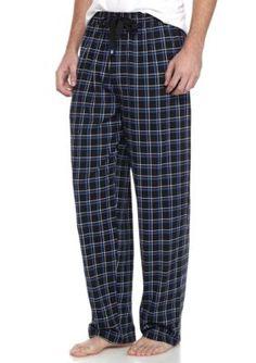 Izod Men's Plaid Knit Sleep Pants - Black - Xl