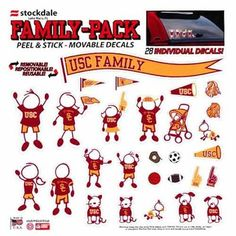 USC Trojans 12'' x 12'' Family Car Decal Sheet---LOVE!!!