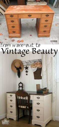 A Craigslist find vintage desk is worn-out and needing a lift. A teenage boy brings it back to being an vintage beauty by Prodigal Pieces http://www.prodigalpieces.com #prodigalpieces #vintagefurniture #refurbishedfurniture