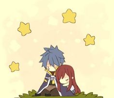 Fairy Tail - Chibi Jellal and Erza Fairy Tail Manga, Anime Fairy, Erza Et Jellal, Fairy Tail Fotos, Fariy Tail, Fairy Tail Guild, Fairy Tail Couples, Fairy Tail Ships, Erza Scarlet