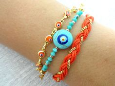 Evil eye bracelet set in turquoise and orange ethnic turkish istanbul jewelry braided bracelet friend birthday mother present christmas gift