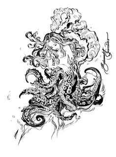 Tattoo ink pens tattoo inspiration octopuses woman acrylics ink