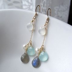 Pretty Summer Piece: Moonstone, Fresh Water Pearl, Seafoam Chalcedony and Labradorite Earrings by Yameyu, $39.00 http://www.etsy.com/listing/97424461/moonstone-fresh-water-pearl-chalcedony