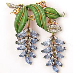 Trifari 'Alfred Philippe' Pave Enamel and Blue Topaz Demilunes Double Pendants Wisteria Pin, 1942