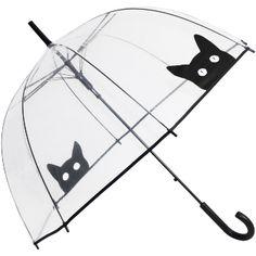 Peek-a-Boo Clear Dome Umbrella - Black Cat - Brolliesgalore                                                                                                                                                     More