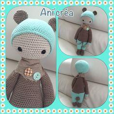 BINA the bear made by Annick P. / crochet pattern by lalylala ♡ Crochet Animal Patterns, Stuffed Animal Patterns, Amigurumi Patterns, Amigurumi Doll, Knitted Dolls, Crochet Dolls, Crochet Teddy, Knit Crochet, Crotchet Animals
