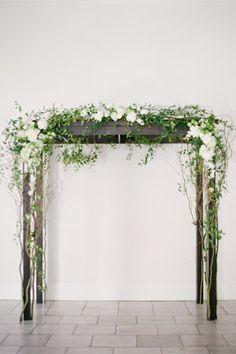 minimalist wooden wedding arbor with white florals ferns - brides of adelaide
