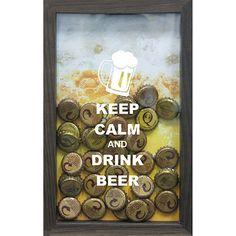 Americanas Quadro Porta Tampinhas de Cervejas Keep Calm 17x27x3cm Betume - Kapos - R$ 26,91 á vista