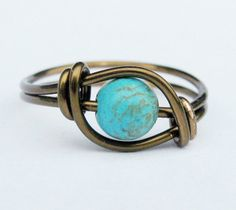 # Boho Chic Matrix Turquoise and Antique Brass Ring