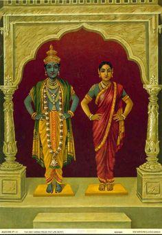 Vitthal Rukmini - Raja Ravi Varma Press by Raja Ravi Varma Ravivarma Paintings, Indian Paintings, Abstract Paintings, Indian Goddess, Durga Goddess, Om Namah Shivaya, Raja Ravi Varma, Ganesh Wallpaper, Tanjore Painting