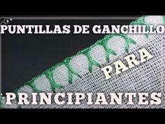 PUNTILLAS DE GANCHILLO FACILES PARA PRINCIPIANTES #7 - YouTube Crochet Edging Patterns, Knit Crochet, Sewing, Knitting, Videos, Make Fabric Flowers, Flower Fabric, Crochet Borders, Crochet Edgings