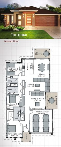 Single Storey House Design - The 'Lorenzo'. 220 Sq.m. 11.75m x 23.15m Jam packed…