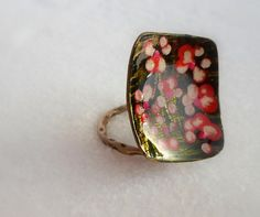 rectangular handmade Ring made of brass olive by violettstyle, €17.38