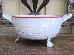 vintage white and blue mottled colander  French by ruegigi on Etsy
