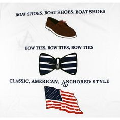 Boat Shoes, Bow Ties and America Tee Shirt in White by Anchored Style