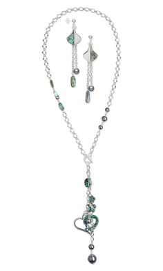 Single-Strand Necklace and Earring Set with Paua Shell Components, Glass Pearls and Silver-Plated Chain - Fire Mountain Gems and Beads
