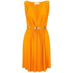 David Szeto Tangerine Belted Pleat Dress ($1,205) ❤ liked on Polyvore