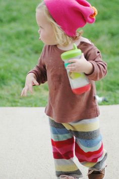 I'm sure you have a few sweaters in your closet that are destined for the donation pile. Did you know you can turn them into pants for your little one? This is one of my favorite fall project…