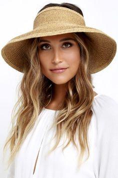 #AdoreWe #Lulus Accessories - San Diego Hat Co San Diego Hat Co. Shade Stunner Beige Straw Visor - AdoreWe.com