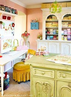 I absolutely want to find a dresser piece like this center green one and paint it that exact color and put it in place of my center table in my craft room!!! Love the idea of the extra storage and use it to stamp at!! Love it!!