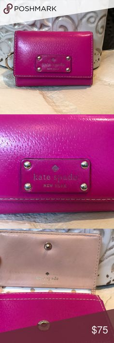 """Kate spade small wallet! Beauty of HOT PINK!!! great compact size to fit in most purses!! Has pocket ok outside of wallet for ID for easy access.  Inside has space for credit cards and middle zip pocket for change.  In excellent condition!  Measures 4 1/2""""x 3 1/2""""x 1"""". Bags Wallets"""