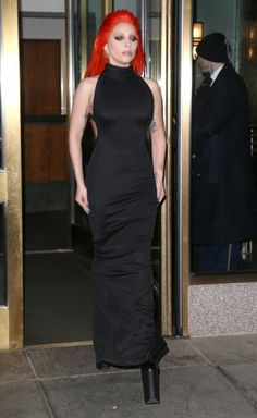 Lady Gaga Halter Dress - Lady Gaga cut a striking figure wearing a black halter gown and orange hair while out in New York City.