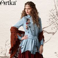 Artka Women 's 2015 primavera blusa de la manga completa del o-cuello bordado decoración Solid blusa SN10246C 11.11