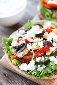 Roasted veggie pita sandwich