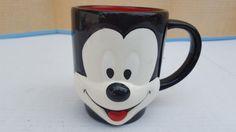 Disney Mickey Mouse Raised Face Coffee Mug Ceramic Black/White