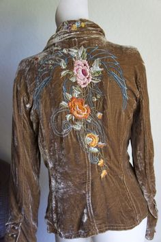 Johnny Was Hippie Bohemian Vintage Gold Brown EMBROIDERED Jacket Top M #johnnywas #SoftJacket