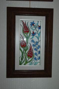 Ceramic tile, framed (lale ve sümbüller) x 20 cm Islamic Patterns, Grand Bazaar, Sketches, Pottery, Ceramics, We Heart It, Gifts, Handmade, Painting