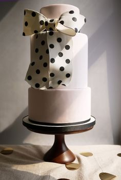 Charm City Cakes polka dot bow wedding cake