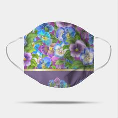 Beautiful Pansy Flowers Violet Viola Tricolor Floral Pattern. Watercolor Hand Drawn Decoration. Spring colorful pansies in bloom garden flowers. - Floral Pansy Flowers Violet Viola Gifts - Mask | TeePublic Printer Ink Cartridges, Pansies, Hand Drawn, Printing On Fabric, Face Masks, How To Draw Hands, Bloom, Colorful, Watercolor