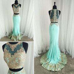 XP115 Two Piece Mermaid Gold Lace Mint Prom Dresses,Gold Lace Appliques Mermaid Formal Evening Gowns,2017 Elegant Two Piece Prom Dresses