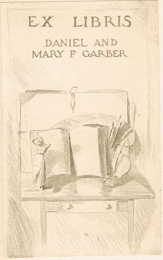"""The book alsofeatures an owner's bookplate which has been affixed to the front pastedown showing thebooks original owner was thefamous American Impressionist landscape painter Daniel Garber. This copy originates from Garber's personal library- the bookplate reads """"Ex Libris - Daniel and Mary F Garber"""". Garber's paintings are now on display at the Smithsonian in Washington D.C."""