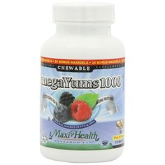 Maxi Health Kosher Vitamins Omega Yums - 1000 - Chewable - 110 Count. Maxi Health Research is proud to provide you with our delicious tasting Omega Yums 1000. The fish oil is encapsulated in a kosher, vegetarian soft gel, suitable for children, which can be chewed, punctured for the oil, or swallowed whole. It easy to digest and has no aftertaste. You keep hearing and reading about the benefits of essential fats, the omega-3 fatty acids: eicosapentaenoic acid (EPA), docosahexaenoic acid…