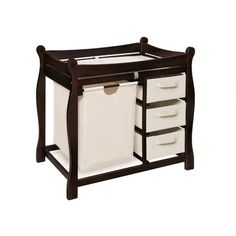 what a great idea to have the hamper in the changer!  Badger Basket Espresso Sleigh Style Changing Table with Hamper and 3 Baskets