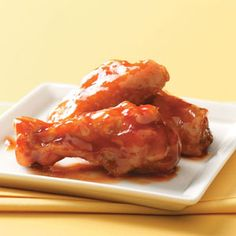 Honey-Barbecue Wings: chicken wings, soy sauce, barbecue sauce, honey, flour, salt, paprika, pepper, oil