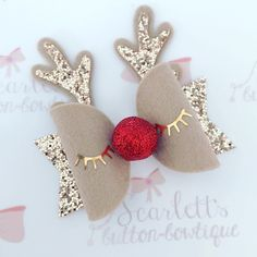 Ideas to create your own Rudolph or Christmas reindeer – Hair Bows – Weihnachten Diy Hair Bows, Diy Bow, Hair Bows For Girls, Handmade Hair Bows, Christmas Bows, Christmas Crafts, Reindeer Christmas, Holiday Hair Bows, Christmas Tables