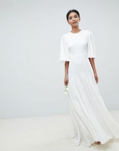 ASOS EDITION wedding dress with open back and flutter sleeve